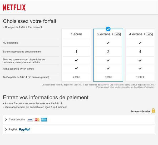 Les tarifs de Netflix en France