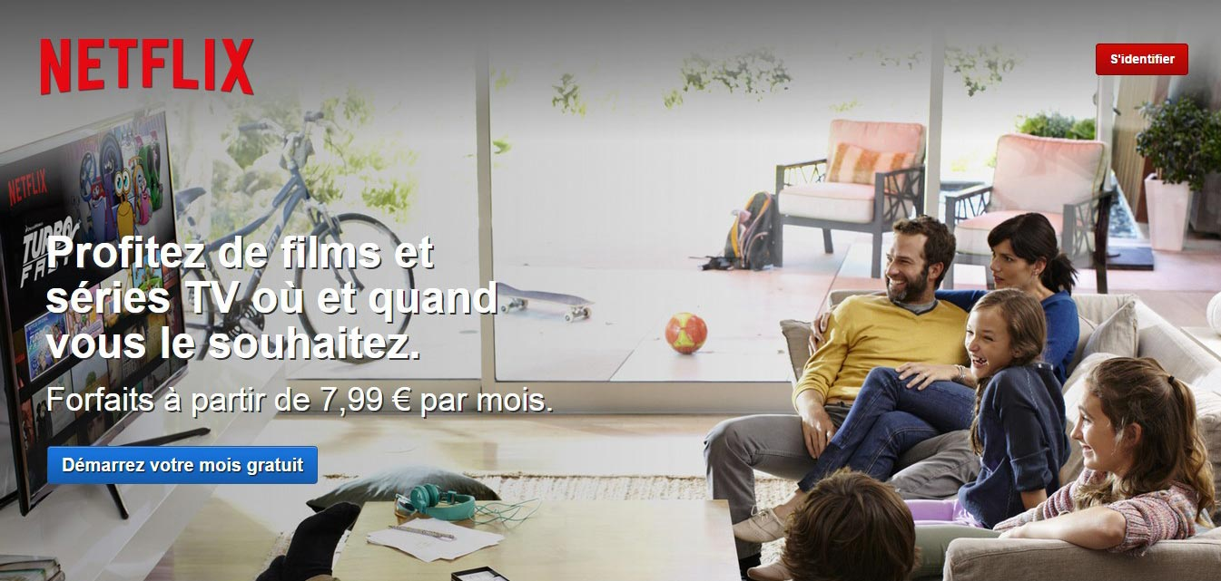 Accueil de Netflix France premier mois gratuit