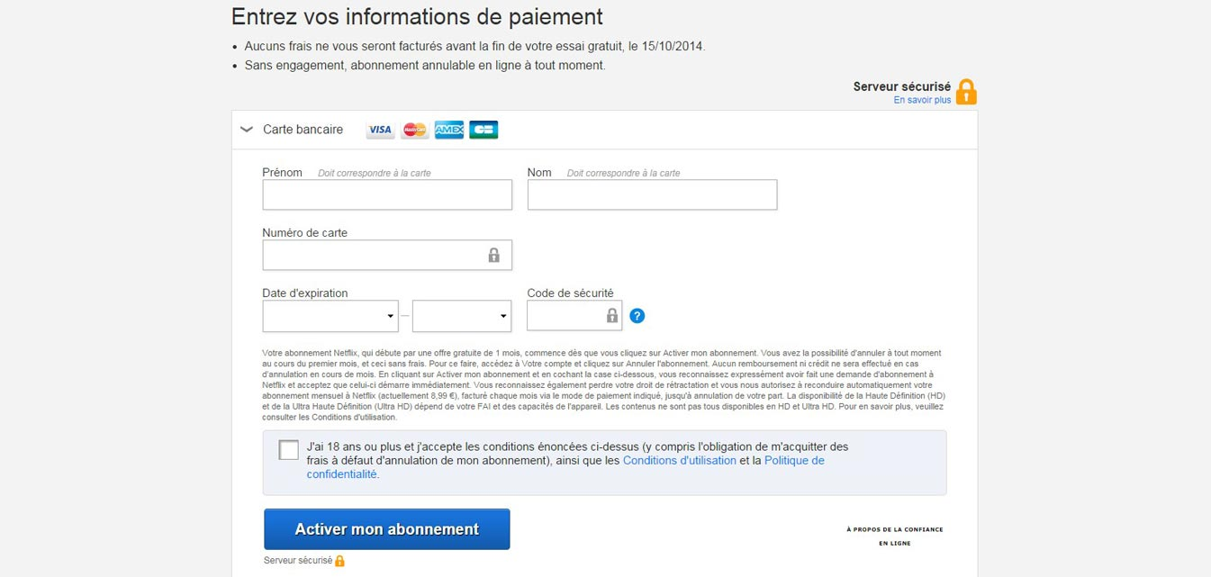 Inscription sur Netflix France paiement Carte Bleue ou Paypal
