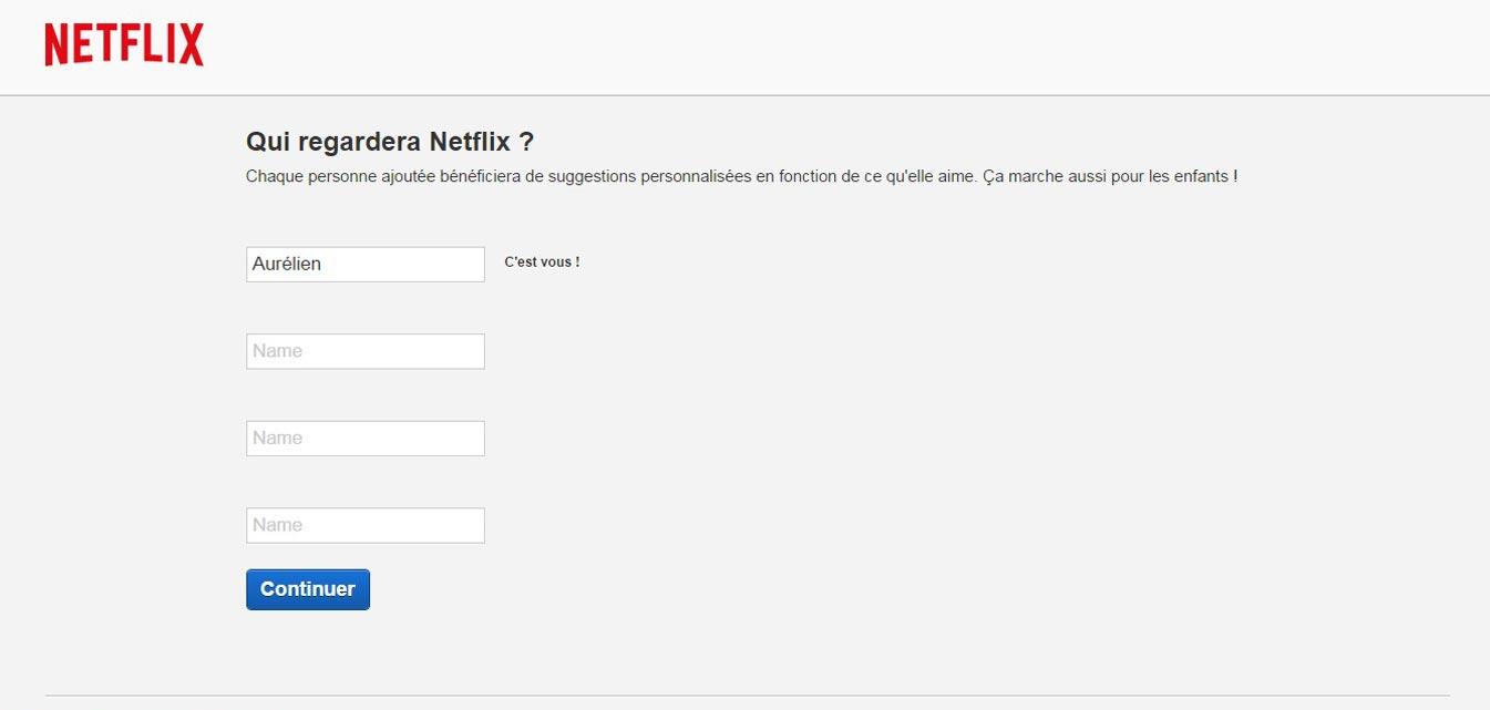 Inscription sur Netflix France différents comptes utilisateurs