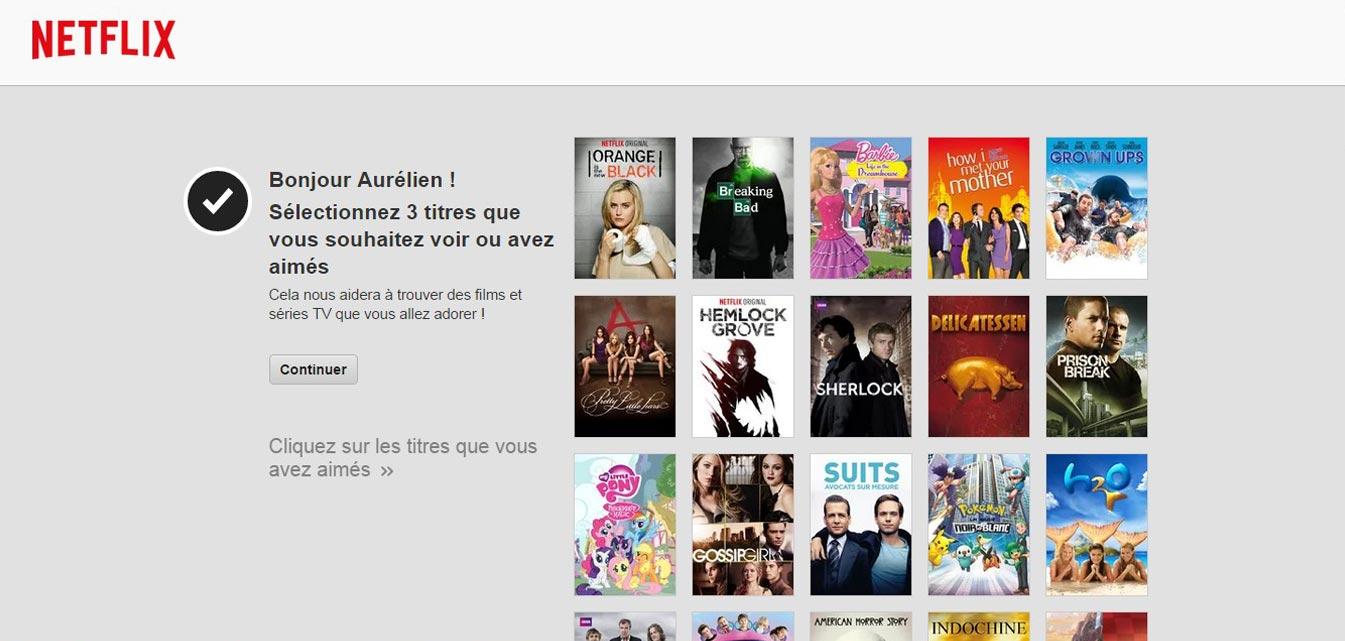 Inscription sur Netflix France personnalisation du compte