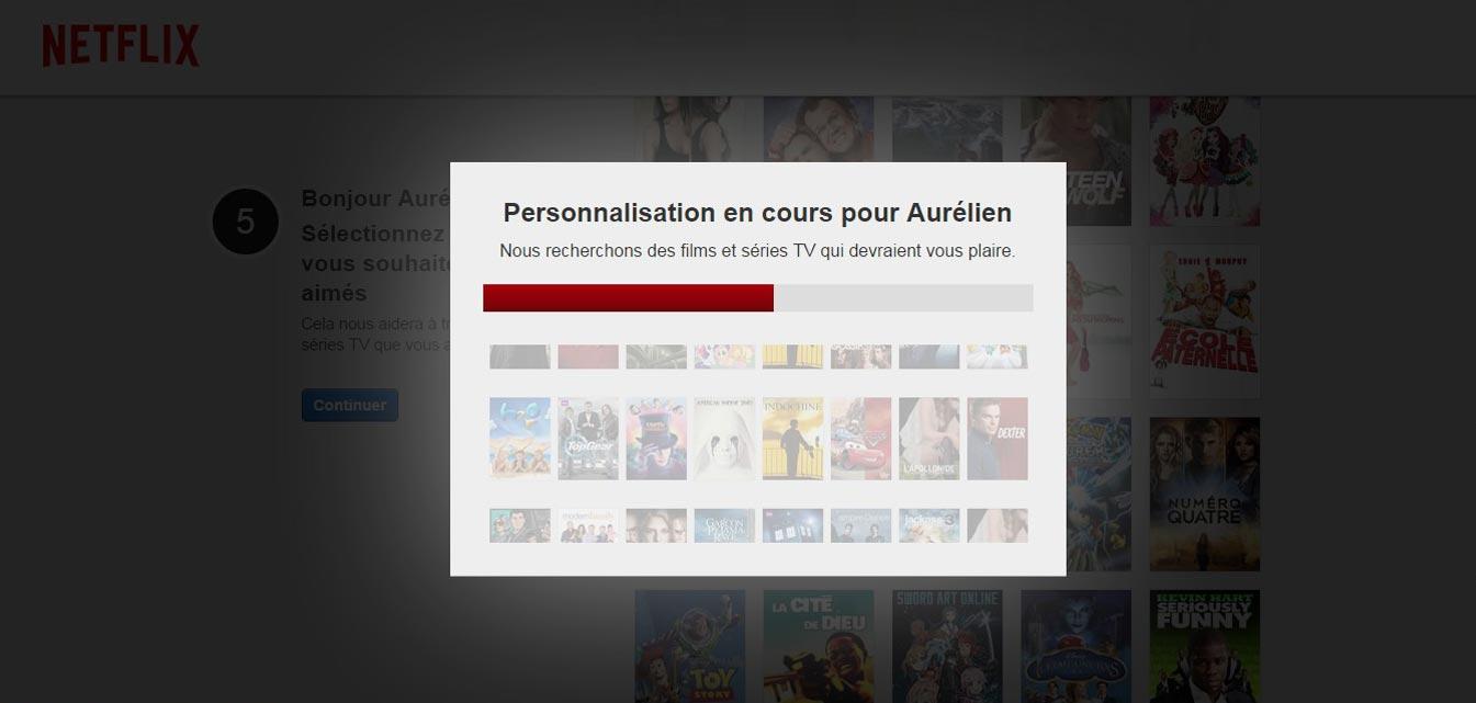 Inscription sur Netflix France personnalisation en cours