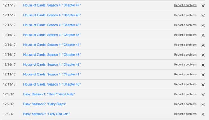 Liste des films et séries regardés sur Netflix