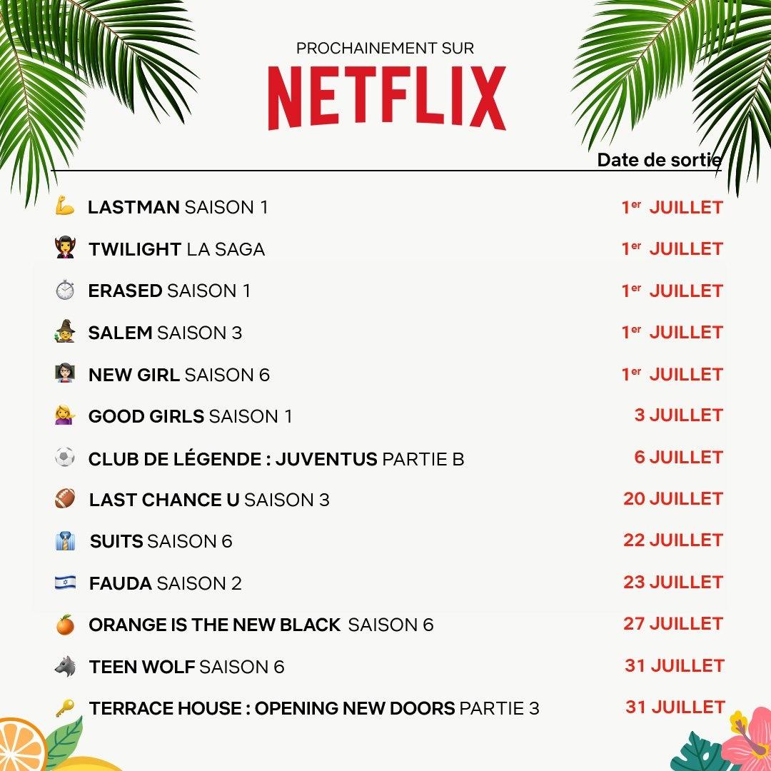 Calendrier des sorties en Juillet sur Netflix